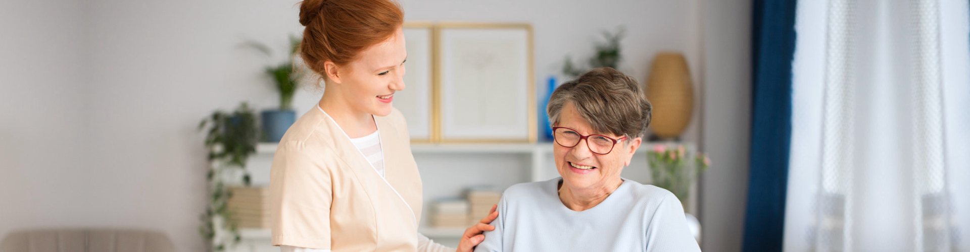 woman and senior showing a smile